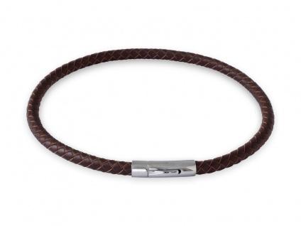 Lederkette Braun Halskette Armband geflochten mit Verschluss Damen Herren (18-70 cm) nest011_brown