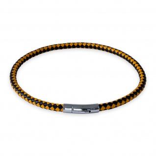 Lederkette Schwarz Gelb Halskette Armband geflochten mit Verschluss Damen Herren (18-70 cm) nest011_black-yellow