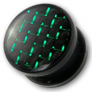 Ohr Plug Acryl Carbon Fiber piercing acrylic ear flesh tunnel tube grün horn WGT