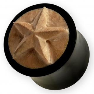 Holz Ohr-Plug Stern Star Flesh Tunnel Piercing-Schmuck Handarbeit 8-14mm schwarz