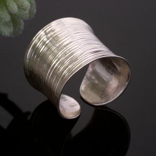Damenring Silber 925 breit Bandring Statement Ring poliert verstellbar offen