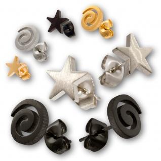 Ohrstecker Edelstahl Spirale Sterne Ohrringe Ohrschmuck silber schwarz gold. - Vorschau 1