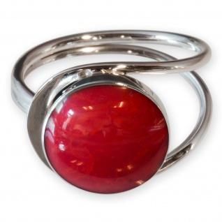 Fly Style Damen Finger-Ring Stein Korallen Optik Silber 925 risi026_rot