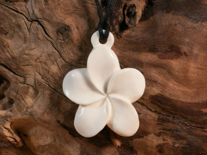 Anhänger Kette Knochen Frangipani Hawaii Blume Blüte Surf Kettenanhänger Schmuck - Vorschau 1