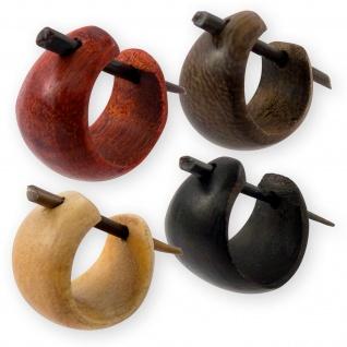 Ohrringe Creolen Holz Natur Schmuck Damen klein schlicht schwarz braun er036