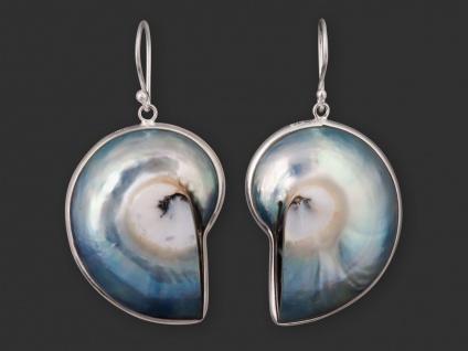 Damen Nautilus-Muschel Ohrringe Ohrhänger Silber 925 earsi022_silbrige Muschel