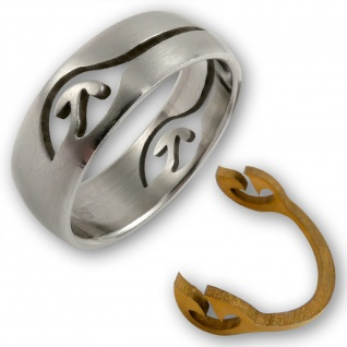 Edelstahl Puzzle Ring tribal tattoo schmuck vergoldet ethno boho damen statement