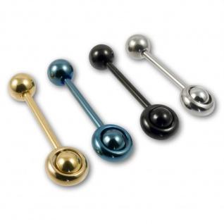 Zungenpiercing Spinning Barbell Hantel Piercing Stecker Schmuck gold