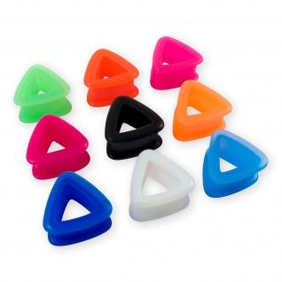 Flesh Tunnel Silikon Ohr Plug weich Dreieck 4-26 mm verschiedene Farben