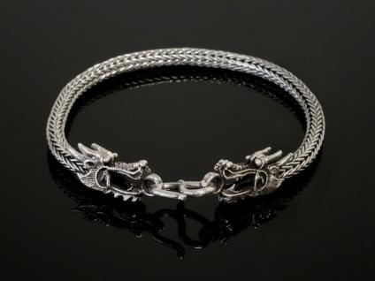 Drachen Armband 925 Silber Herren Damen Armreif Drachenkopf Wikinger Armkette