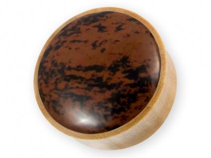 Ohr Plug Flesh Tunnel Holz Mahagoni Obsidian Piercing braun schwarz (6-30mm)