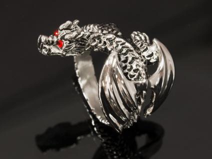 Drachen Ring Edelstahl Strass Kristall dragon silber damen mädchen schmuck - Vorschau 2