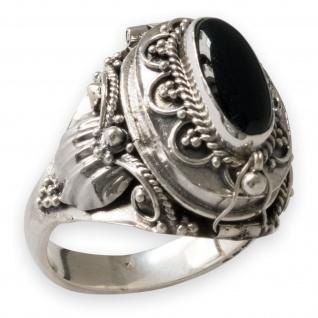 Damen Ring 925 Echt Silber Giftring aufklappbarer Deckel Onyx Schwarz risi025