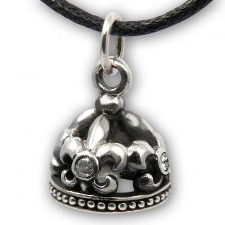 925 Silber Fleur De Lis Krone Anhänger kette crown charm rockabilly gothic LARP
