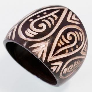 Maori Tribal Ring Knochen ethno handarbeit naturschmuck holz horn surfer design