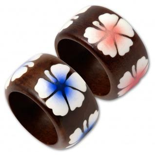 Holzring Hibiskus Blüte holz ring rockabilly pink blume tiki flower frangipani