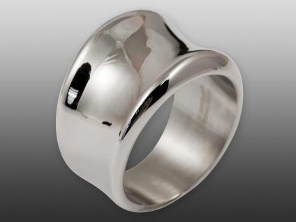 Damen Edelstahl Ring Bandring Fingerring breit geschwungen silber poliert