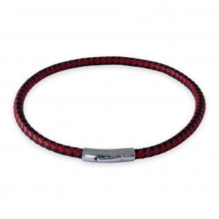 Lederkette Schwarz Rot Halskette Armband mit Verschluss Damen Herren (18-70 cm) nest011_black-red