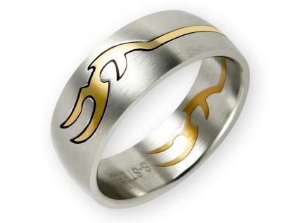 Edelstahl Puzzle Band Ring tribal tattoo schmuck 18k vergoldet ethno boho damen - Vorschau 1
