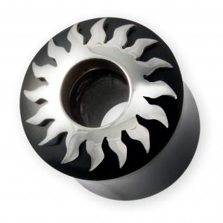 Flesh-Tunnel Ohr Plug Horn Silber Tribal Sonne Organic Piercingschmuck 6 - 22 mm