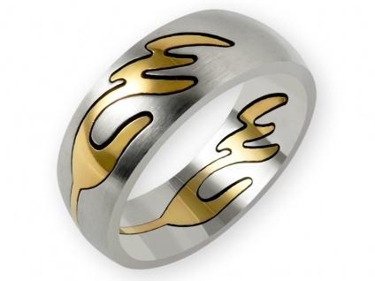 Edelstahl Puzzle Ring tribal wave schmuck vergoldet ethno boho damen statement