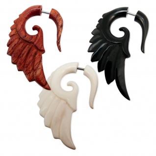 Engelsflügel Fake Piercing Horn Knochen Holz spirale expander ohrringe flügel