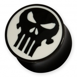 Horn Plug Skull Totenkopf Knochen Punisher marvil biker daredevil flesh tunnel
