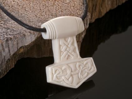 Kettenanhänger Thors Hammer Knochen Anhänger Mjölnir Wikinger Thor Wotan Kelten