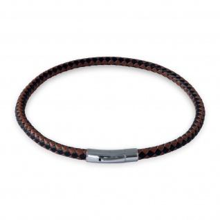 Lederkette Schwarz Braun Halskette Armband geflochten mit Verschluss Damen Herren (18-70cm) nest011_black-brown