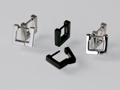 Klapp Scharnier Creolen Edelstahl Ohrringe in matt silber oder schwarz eckig - Vorschau 5