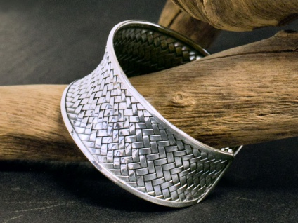 925 echt Silber Armreif Armband Damen Schmuck Armspange offen geflochten breit