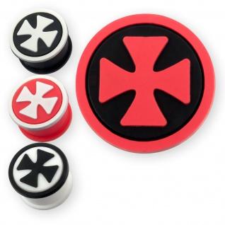 Silikon Flesh Tunnel Eisernes Kreuz Ohr Plug schwarz weiß rot (4-26mm)