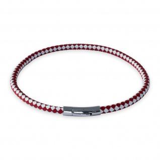 Lederkette Rot Weiss Halskette geflochten Armband mit Verschluss Damen Herren
