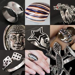 Top Designer Edelstahl Damen Ring breit schmuck silber geschenk gothik statement