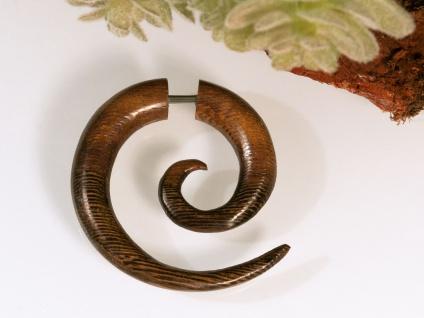 Fake Piercing Spirale Holz Sichel Ohrring braun Tunnel Plug
