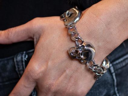 Armband Edelstahl Panzerarmband Armkette Totenkopf Husaren Schmuck silber Skull