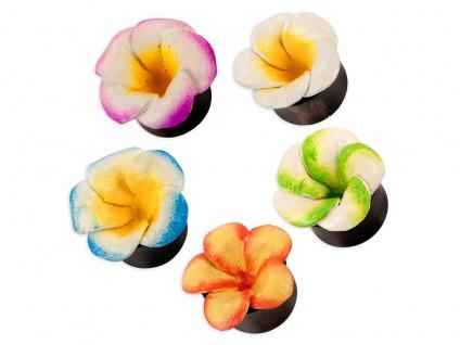Ohr Plug flesh tunnel Holz Blüten piercing rockabilly hippie Hibiskus blumen