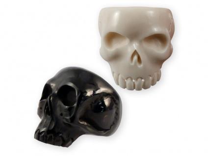 Herren-Ring Klassischer Totenschädel Skull Horn Knochen Totenkopf schwarz weiß