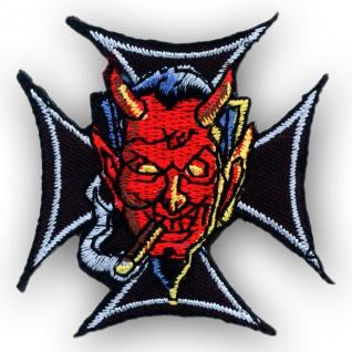 """Aufbügler / Aufnäher """" Eisernes Kreuz mit Rauchendem Teufel"""""""