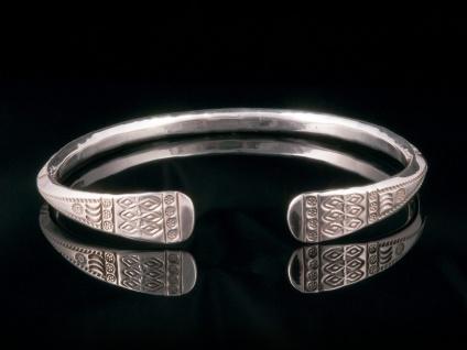 Armreifen Armspange Echt 925 Silber Damen Schmuck Ornamente offen schmal antik