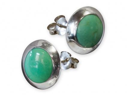 Damen Echt 925 Silber Ohrstecker Ohrringe Silberohrringe Ohrschmuck grün