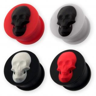 Silikon Flesh Tunnel Totenkopf ohr ear plug skull schädel piercing tube schwarz