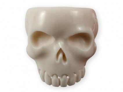 Herren-Ring Klassischer Totenschädel Skull Horn Knochen Totenkopf schwarz weiß - Vorschau 2