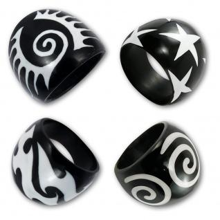 Tribal Ring Horn Sterne Spirale Maori gothic natur schmuck schwarz bone knochen