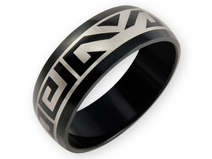 Edelstahl Band Ring schwarz Mäander Azteken Maori Tribal Damen Herren Schmuck