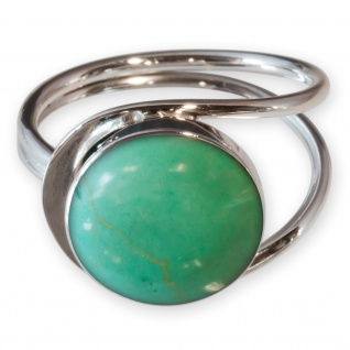 Fly Style Damen Finger-Ring Stein Jade Optik Silber 925 Spirale risi026_grün