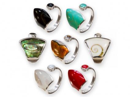 925 Silber Finger-Ring mit Muschel Perlmutt Paua Shiva Auge Damen offen