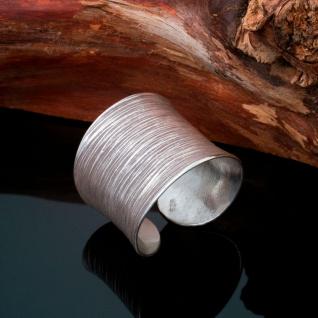 925 Silber Damen Ring Vintage Schmuck Bandring gehämmert offen breit matt