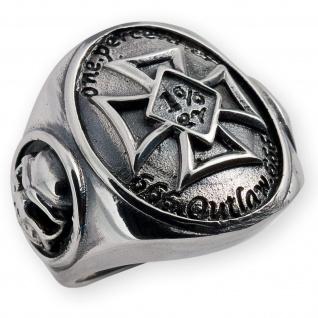 Einprozenter Eisernes Kreuz Silber Ring 925 Herren Siegelring Totenkopf Biker 1%