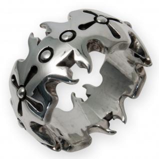 925 Silber Crown Design Tribal Ring krone kreuz mittelalter gothic biker LARP SM